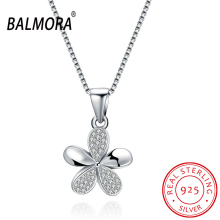 BALMORA Cubic Zirconia 100% Real 925 Sterling Silver Jewelry Delicate Flower Pendant Necklaces for Lover Party Wedding SVN064