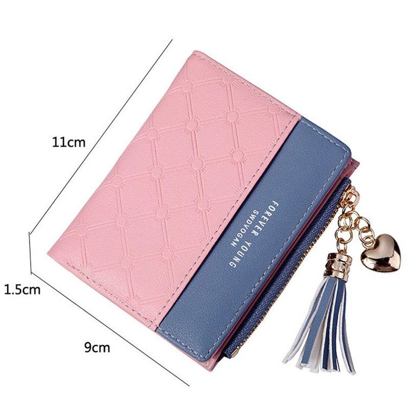 Leather Small Wallet Women Mini Women Wallets Purses Female Short Coin Zipper Purse Holder Tassel Zipper Button Bag (7)