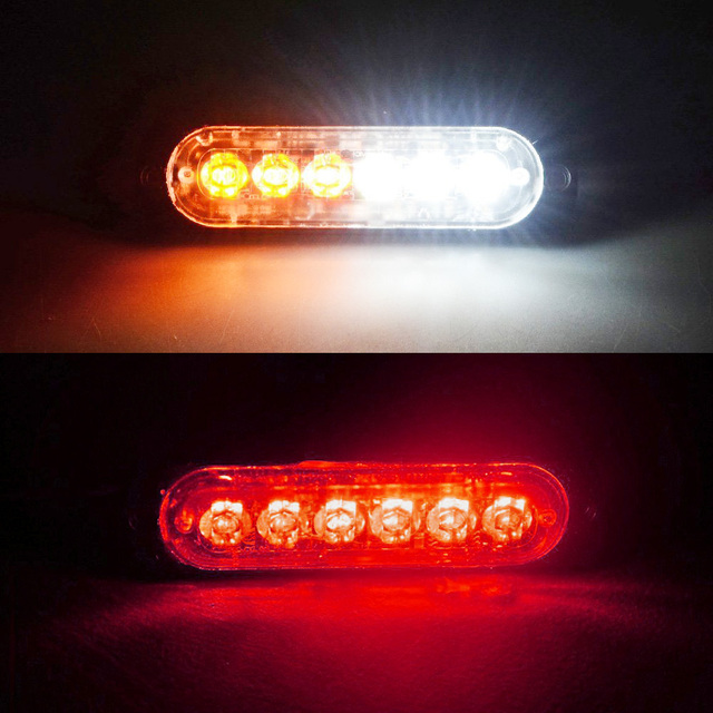 Aliexpress buy 2pcs white color consumption 6 led car warning 2pcs white color consumption 6 led car warning light bar high quality caution light 16 flashing aloadofball Image collections