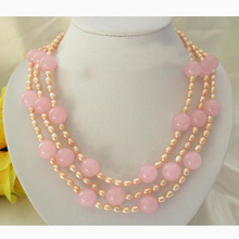 New Arriver Stunning Pearl Jewellery,3 Rows 7mm Pink Freshwater Pearl,14mm Pink Jades Jewellery Necklace For Women Gift new arriver real pearl jewellery 48inches 4 16mm gray rice freshwater pearls smoke crystal beads necklace free shipping
