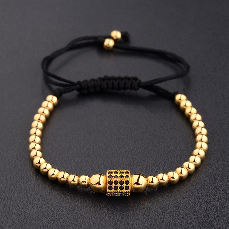 Amader Punk Style Copper Made Beetle Beads Zircon Top Quality Adjustable Rope Bracelet High Grade Mens Or Women Jewelry AB1022