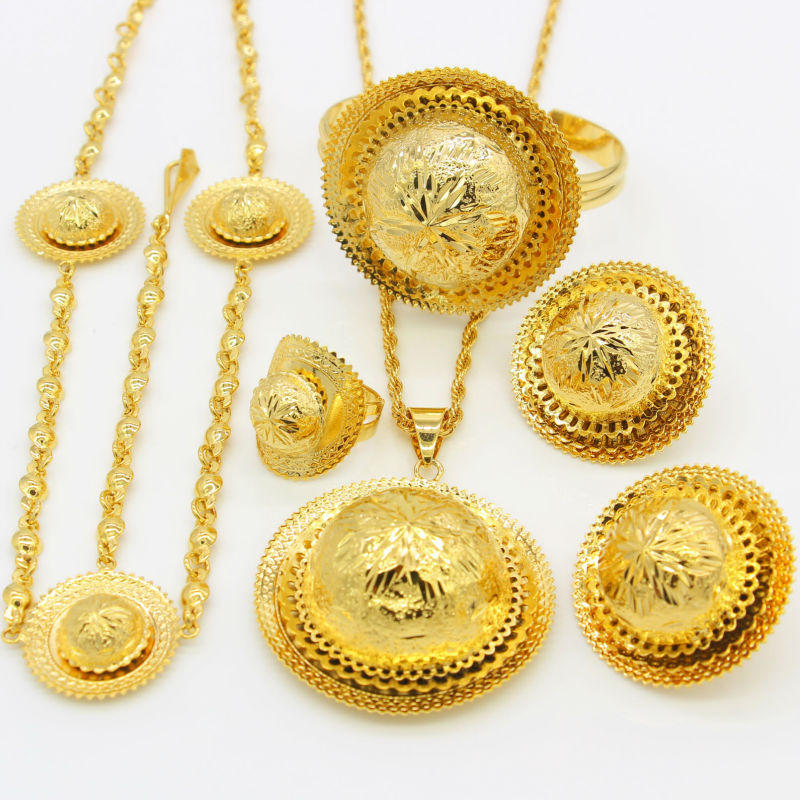 2017 New Ethiopian Wedding/Party Jewelry Sets Gold Color Jewelry Habesha African Traditional Festival Women Party Gifts