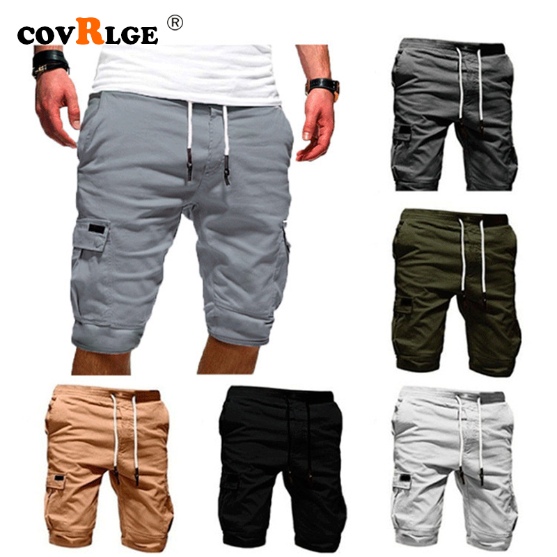 Covrlge Men's Shorts Summer 2019 New Casual Solid Color Shorts Knee Length Multi-pocket Men Shorts 7 Colors MKX042