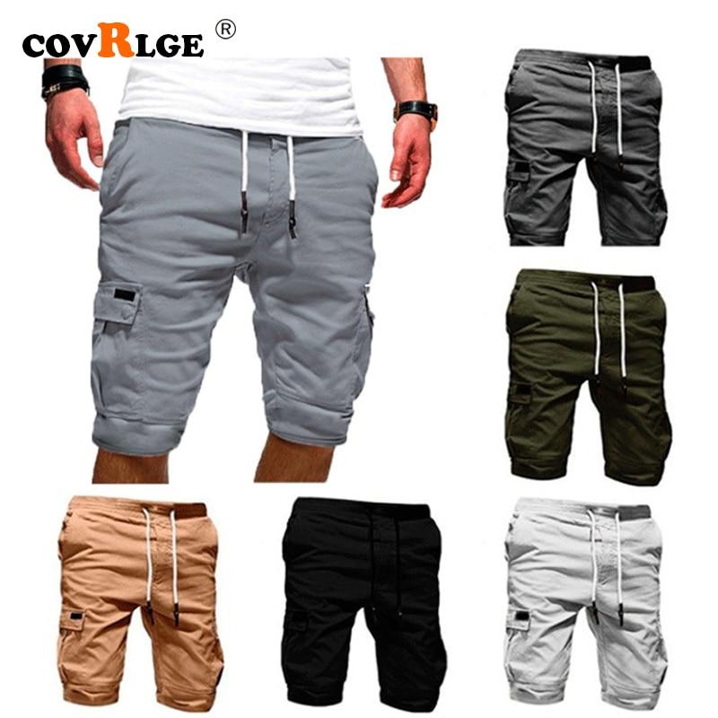 Covrlge Men's Shorts Summer 2019 New Casual Solid Color Shorts Knee Length Multi-pocket Men Shorts 7 Colors MKX042
