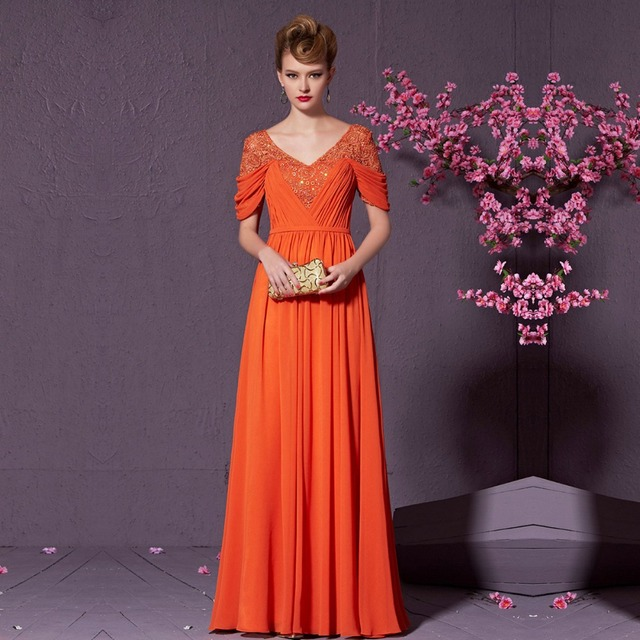 74ac3f97f8d5 Coniefox 30909 Orange Princess Prom Dress Sequined Evening Gown V-neck Full  Length Evening Dress with Sleeves