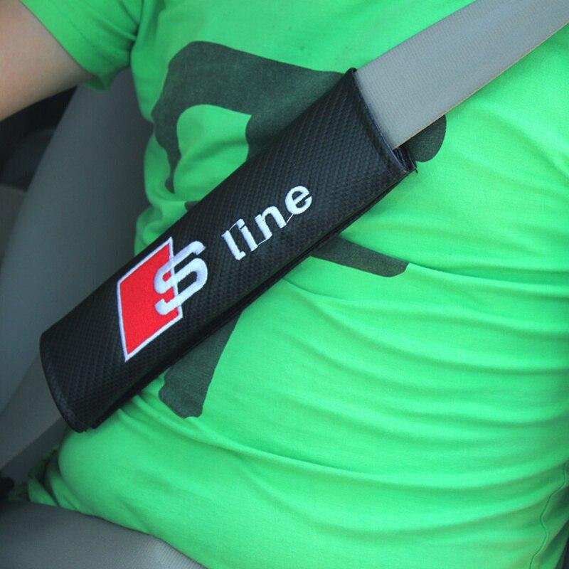 2pcs Black Car Seat Belt Cover Pads Shoulder Cushion For Audi S line A4 C5 C6 C7 A3 A6 B5 B6 B7 Q3 Q5 Q7 A1 A5 A7 TT A8 SLINE 2pcs led logo door courtesy projector shadow light for audi a3 a4 b5 b6 b7 b8 a6 c5 c6 q5 a5 tt q7 a4l 80 a1 a7 r8 a6l q3 a8 a8l