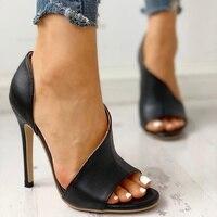Женские летние босоножки; модные однотонные повседневные туфли-лодочки на очень высоком каблуке с открытым носком