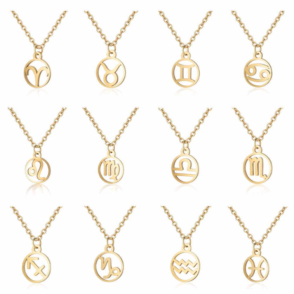 Todorova gwiazda ze stali nierdzewnej znak zodiaku Neckless 12 konstelacji naszyjnik damski złoty łańcuszek naszyjnik mężczyzn biżuteria