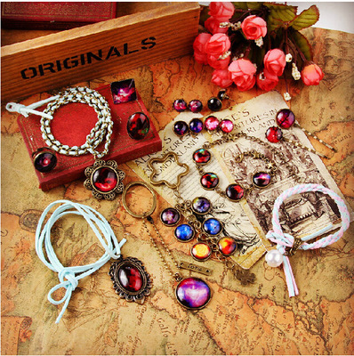 (1set)DIY Material package retro Christmas bracelet hairpin accessories glass the Time gems jewelry