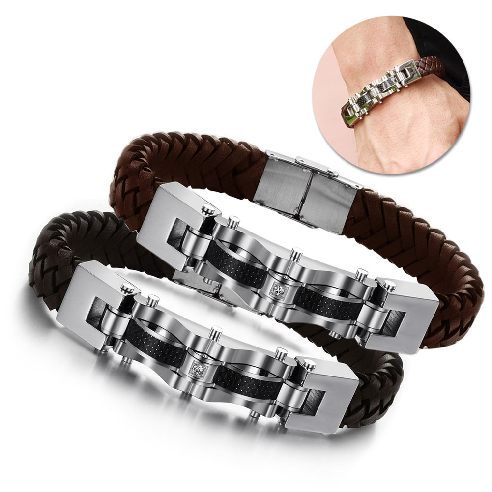 Black Brown Mens Personality Bangles PU Leather Titanium Steel Bracelet Woven Bracelets  ...