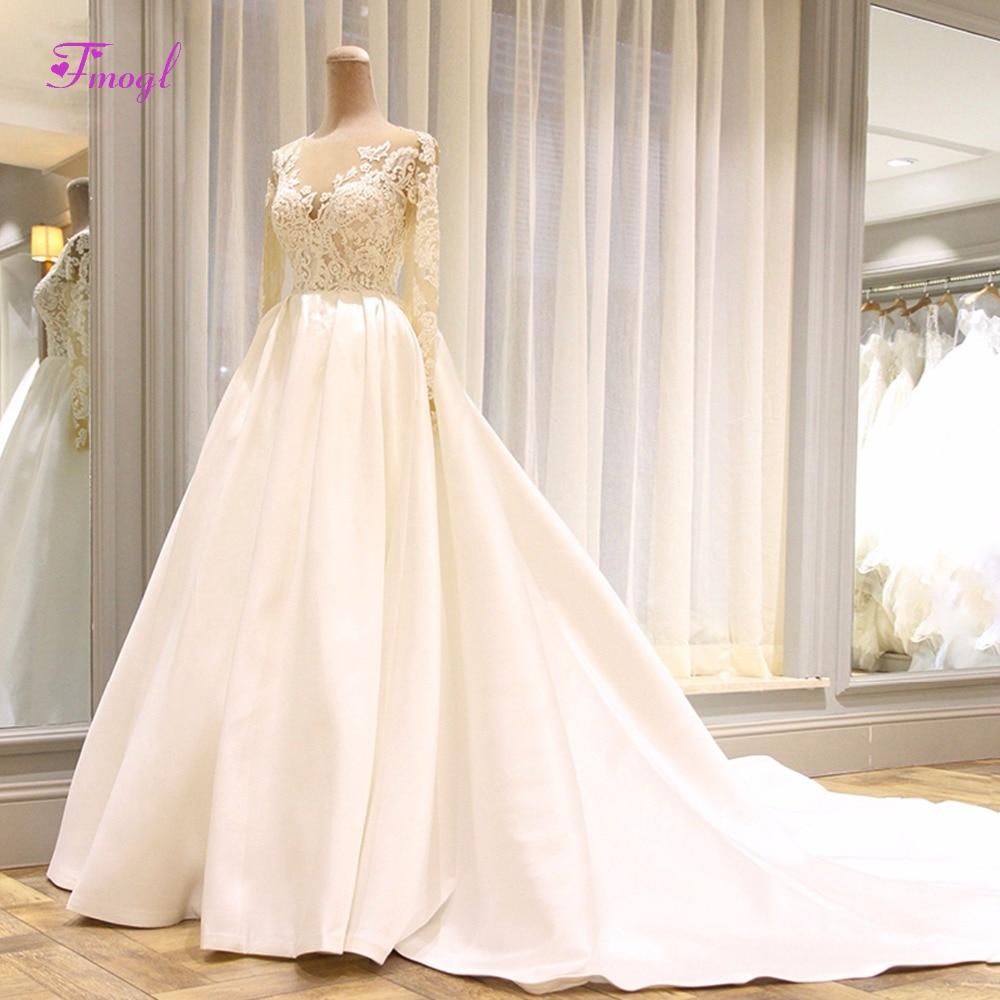 Fmogl Vestido de Noiva Long Sleeve Appliques A-Line Wedding Dress 2019  Elegant Scoop Neck 9963dfb9993a