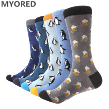 MYORED 5 pair lot Men s funny casual dress Socks penguin crew socks jacquard male socks