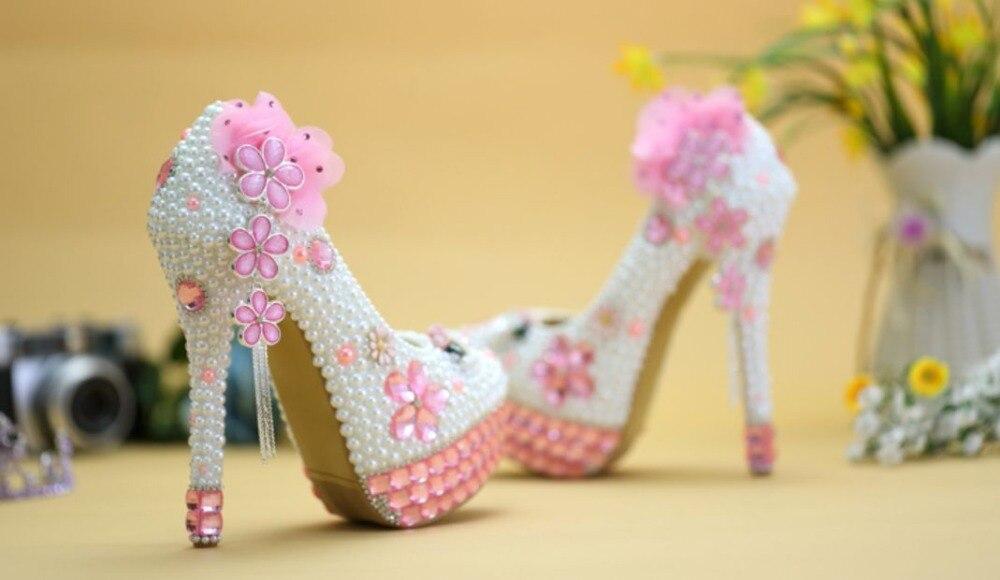 Cristal Mano Zapato De Patty Boda Novia Hecho Lujo Bomba 14cm Perlas Rosa Plataformas Zapatos Heel Graduación A Vestido Blanco Ceremonia Nq078 Flor qHStwH