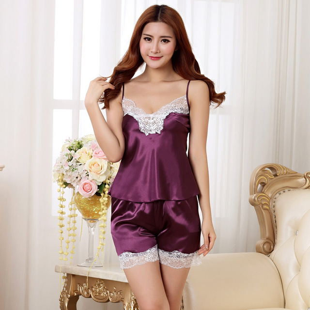 dfc1a60d017e two pieces women s pajamas set sexy girl purple lace nightwear   shorts set  fashion pijamas mujer satin pajamas tracksuit