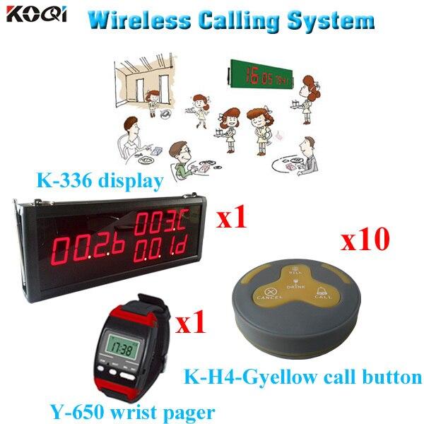 Электронная система вызова клиента, монитор с часами и трансмиттером (1 дисплей, 1 наручные часы, 10 кнопок вызова)