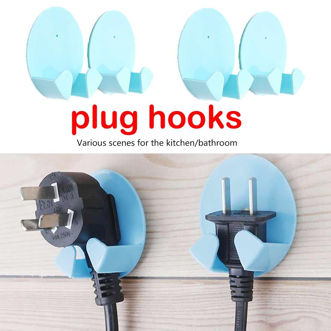 Plug Holder 2 Pcs Practical Gum Hooks Plug Hooks For Household Usage Colors Random Daily Necessities Hooks Storage Holder