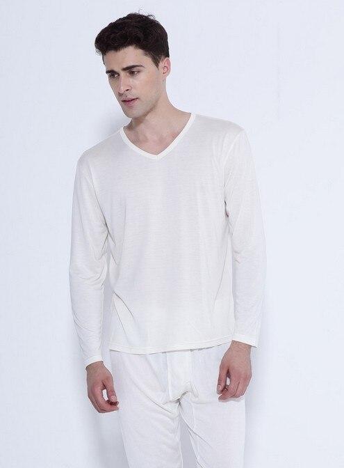 100% hochwertigen reinen silk unterwäsche männer anzug dünne V kragen 3