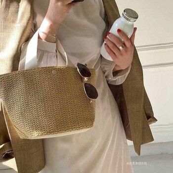 NEW Capacity Straw Bags Women Handmade Woven Basket Bolsa Tote Summer Bohemian Beach Bags Luxury Brand canvas Lady Handbags 3