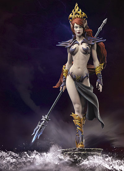 1/32 54MM Queen Of Darkness GIRL 54MM  Resin Figure Model Miniature Gk Unassembly Unpainted