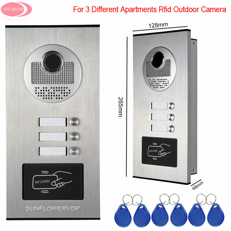 Video Eyes For The Door For 3 Apartments Access Control Rfid Unlock Intercom video DoorPhone Intercoms 3 Keys Outdoor CCD Camera outdoor camera ccd lens outdoor unit video door phones intercom systems with 6 buttons for 6 office villas apartments hotles
