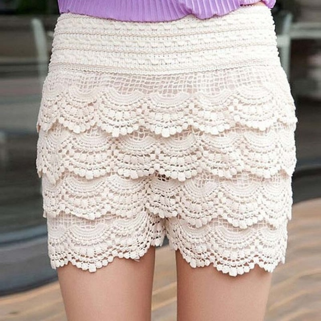 Womens Fashion Korean Culottes Multilayer Lace Crochet Shorts Solid