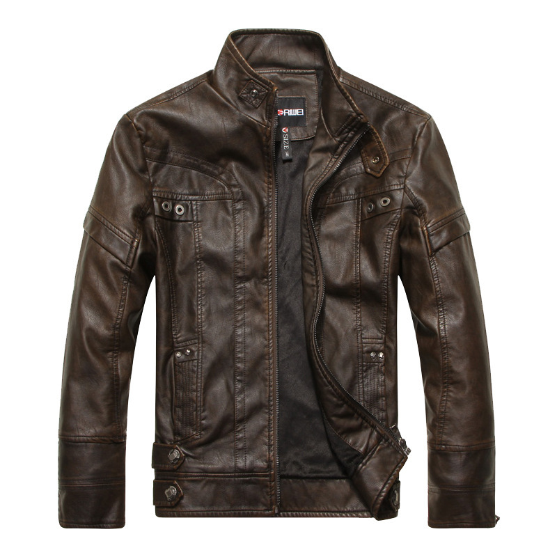 2019 Winter Brown Leather Jacket Men Stand Collar Zipper Up Fur Lining Slim Biker Motorcycle Jacket Casaco Couro Casculino