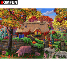 HOMFUN 5D DIY Diamond Painting Full Square/Round Drill Country scenery Embroidery Cross Stitch gift Home Decor Gift A09355