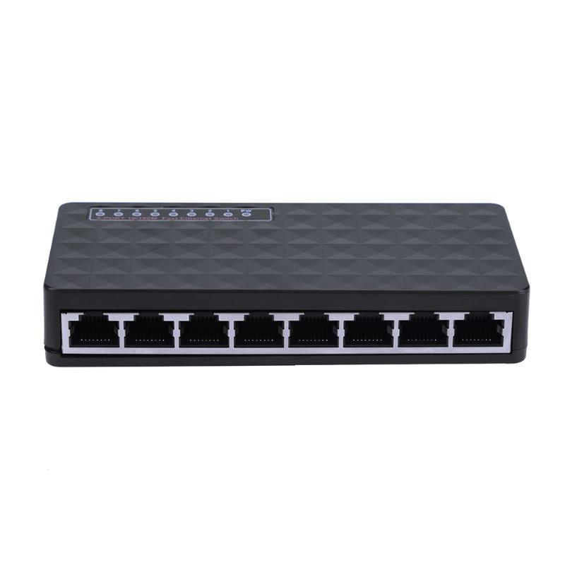 Mini 8 Port 10/100Mbps Network Switch HUB Fast LAN Ethernet Network Desktop Switches Adapter EU/US Plug with LED indicator light ...