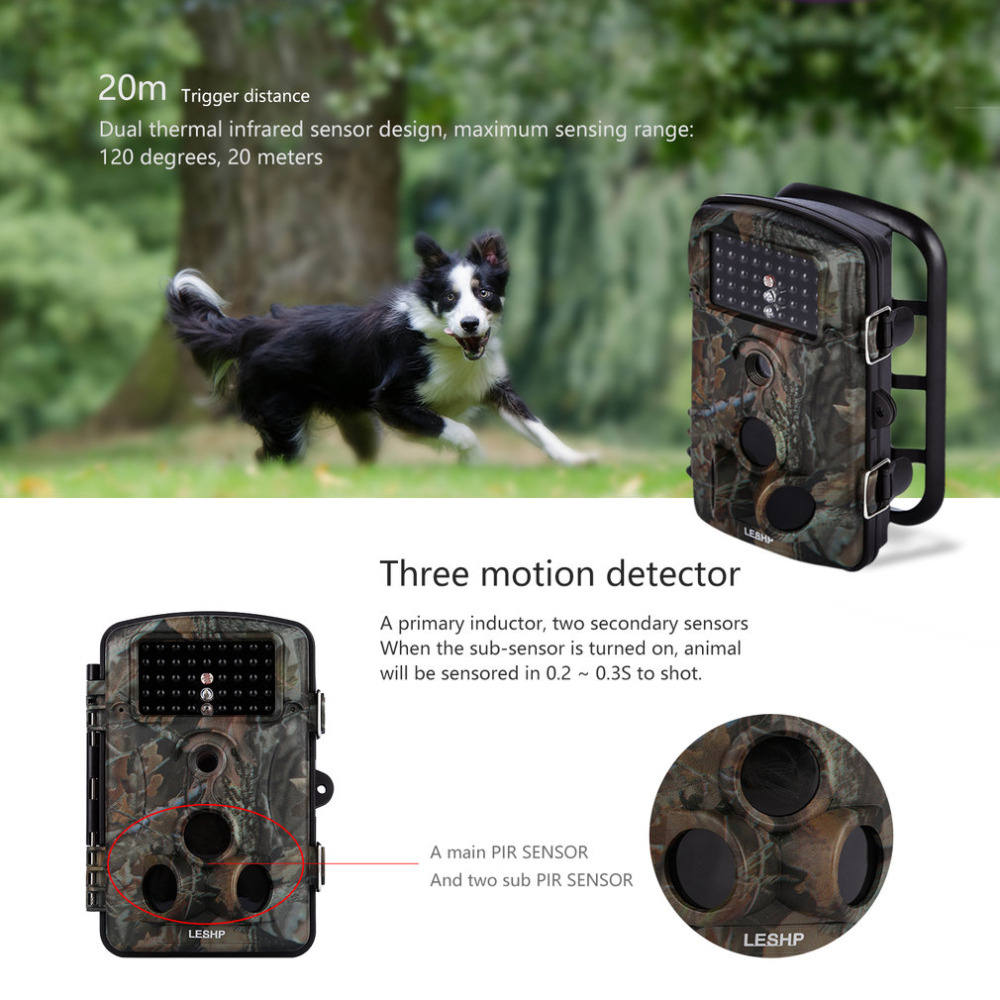 Game Trail Hunting Camera 12MP 1080P HD 120DGE Wide Angle Infrared Night Vision 42pcs IR LEDs 2.4inch LCD Screen Camera RD1000 сетевая карта для сервера d link dge 560t 10 b1c dge 560t 10 b1c