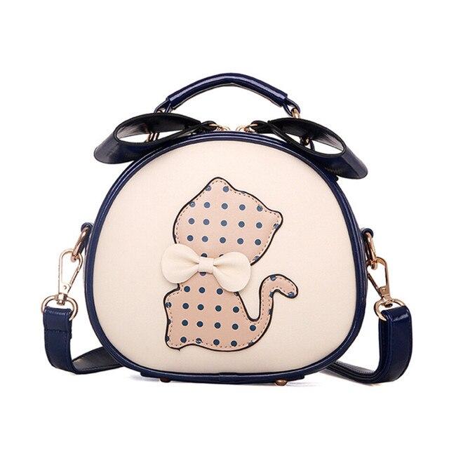 06546e0e4 BARHEE New Women's Bag Leather Handbag Cute Girls Single Shoulder Belt Cat  Bags with Bow Small Crossbody Bag Black Blue bolsas