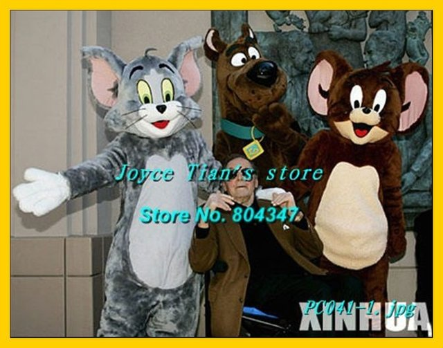 Newest Version Light tom and jerry costume Cartoon Mascot Character Costume For Adult Free Shipping