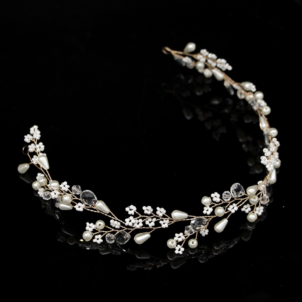 New Fashion Pearl Flower Vine Tiara Bride Head Chain Bridal Headbands Hair Ornaments Wedding Hair Accessories 3