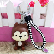 Factory direct cute cartoon doll car keychain 16 styles silicone couple key chain ring pendant