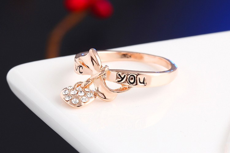 17KM Romantic Gift Retro Love Heart Bow Rings Rose Gold Color wedding Austrian Crystal Element Rings Word Ring For Women 4