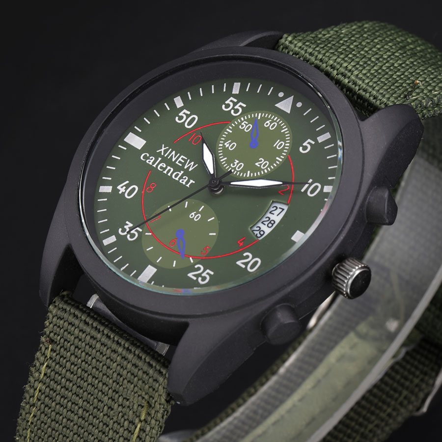 New Russian Army Mens Watches Fashion Sports Big Face Canvas Strap Casual Quartz Watch with Calendar