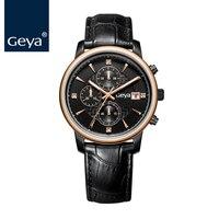 Гея 2017 роль роскошные часы Для мужчин сапфир Стекло кожаный ремешок часовой бренд многофункциональный Повседневные часы для Для мужчин рож
