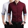 2016 Nueva Moda de Alta Calidad de la Marca de Los Hombres Camisa Delgada del Ajuste Camisa de Manga larga de Los Hombres de Algodón A Cuadros Camisas Casuales Camisa Sociales Homme