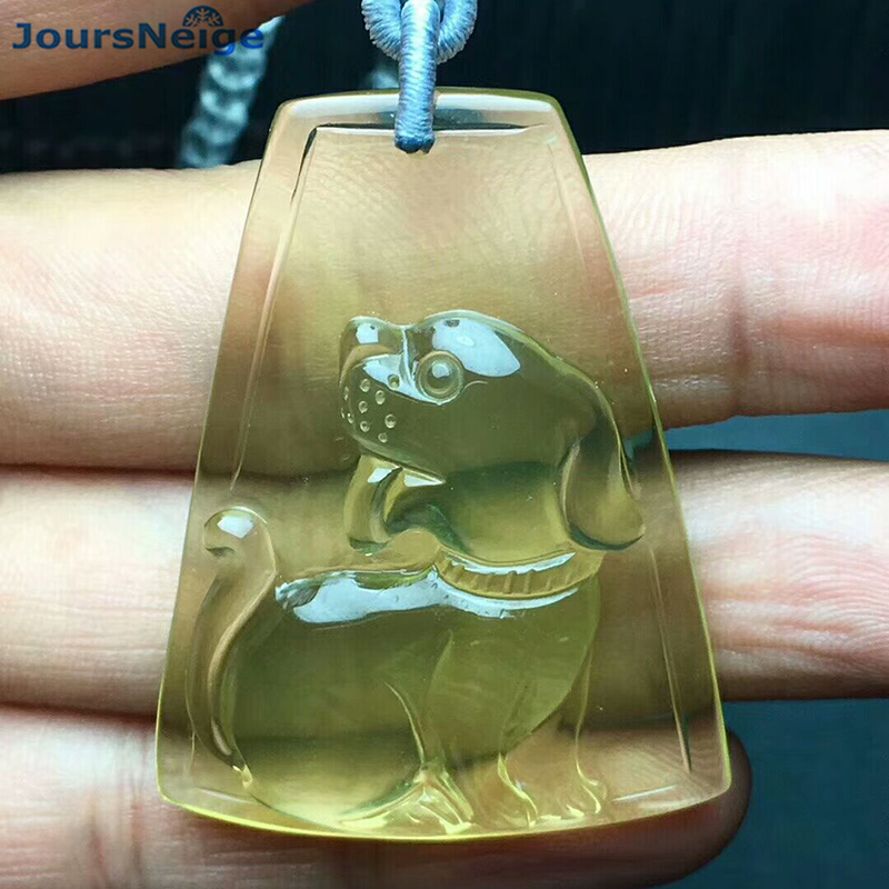 Wholesale Yellow Natural Crystal Pendants Hand Carved Dog Pendant Sweater Chain Necklace Luck for Women Men Gift Zodiac Jewelry men and women lovers style pure hand carved hollow out god beast pendant necklace sweater chain