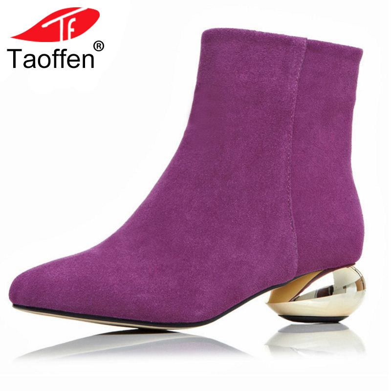 TAOFFEN Brand New Women Real Natrual Genuine Leather Ankle Boots Woman Square Toe Botas Women Stylish Heels Shoes Size 34-43 brand new woman real genuine leather square heel half short boots women retro square toe heeled shoes footwear size 34 39