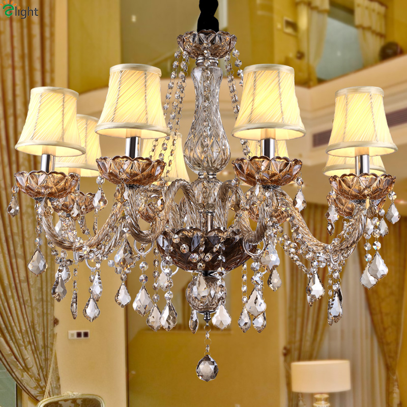 Europe Lustre Crystal Led Chandeliers Lamparas Amber Glass Dining Room Led Chandelier Lighting Fixture Hanging Lights Luminarias