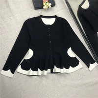 color collision bee waist skirt sweater knitted jacket elastic tight long sleeved cardigan