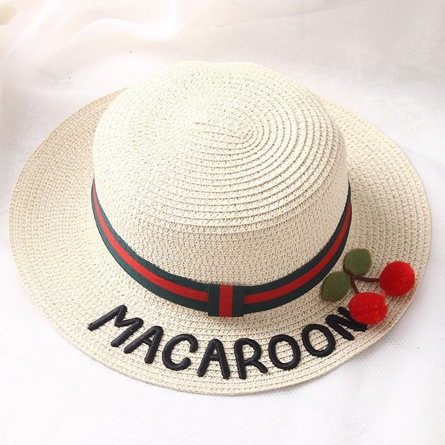 2018 Summer Women Cute Cherry Letter Embroidery summer Sun Hat Girl Beach  Hats Chapeau Femme De Soleil Panama women beach hats 5e16cbc56d3