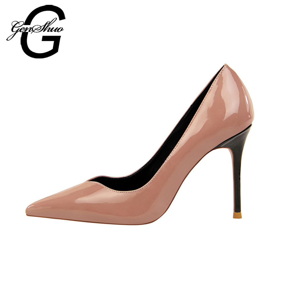 6eeb5cfa855 GENSHUO Sexy Stiletto Women Pumps Shoes High Heels Pointed Toe Elegant  Office High Heels Women s Shoes
