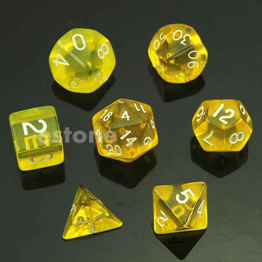 7-النرد الوجهين D4 D6 D8 D10 D12 D20 السحر التجمع D & D RPG بولي لعبة مجموعة الخرز النردات الزرقاء