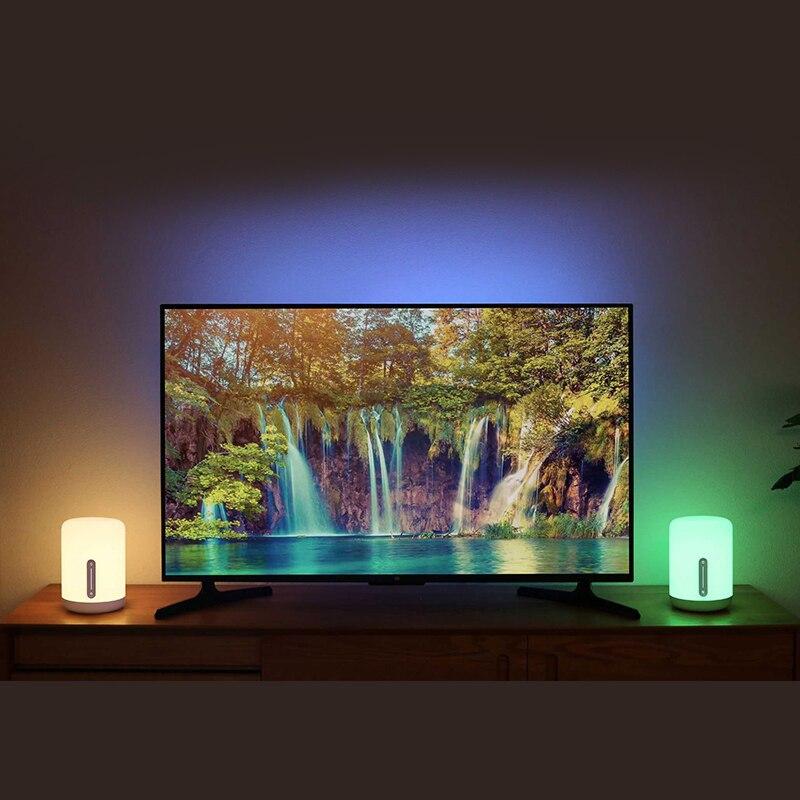 Xiaomi Mijia lampe de chevet 2 Smart Table LED veilleuse coloré 400 Lumens Bluetooth WiFi contrôle tactile pour Apple HomeKit Siri - 4