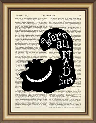 Buy Alice In Wonderland Cheshire Cat Quote Dictionary Art Print Wall