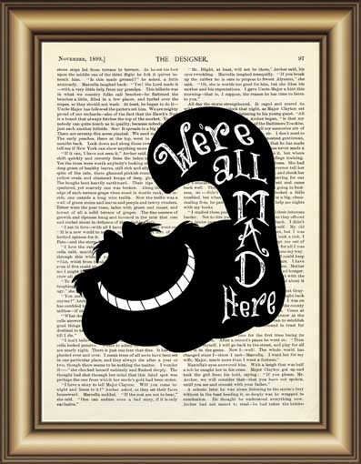 adf976fdda6 Alice in Wonderland Cheshire Cat Quote Dictionary Art Print wall Poster  Canvas painting Home Decor Pictures Vintage Book Print