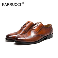 KARRUCCI oxford patina brown black brogues dress shoe genuine calf leather men work shoe handmade quick delivery Wedding Party