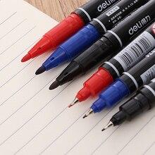 Перманентные маркеры с двумя наконечниками, 1 шт.(черные, синие, красные) Чернила, 0,5 мм-1 мм хайлайтер канцелярские принадлежности