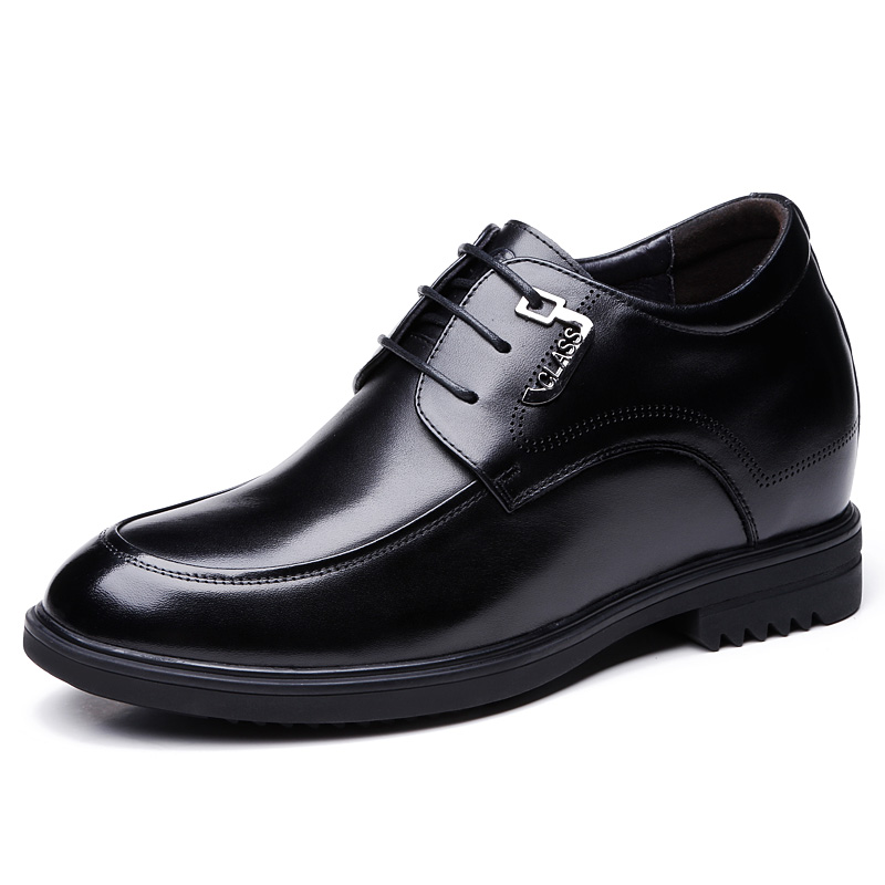 Extra Genuine Leather Height Elevator Wedding Shoes with Hidden Insert Get Taller 10cm / 3.9 Inches for Men